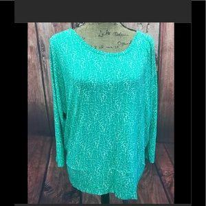 Ann Taylor size large green/ white print  top